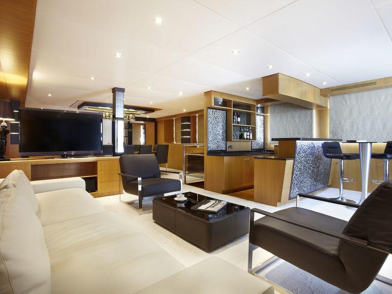 modern interior design of superyacht megaway 128