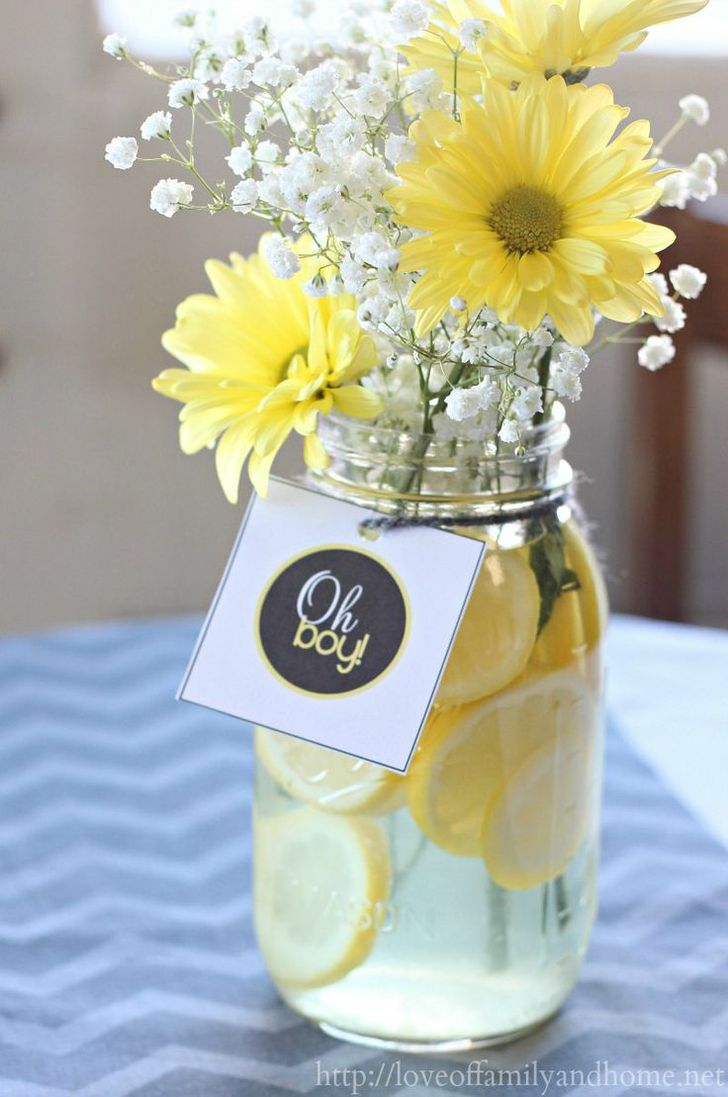 flower vase decoration idea baby shower party