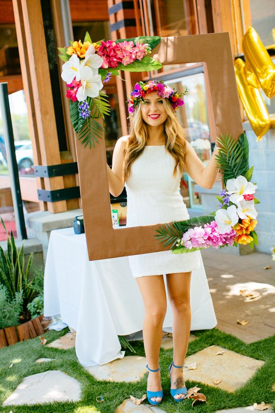 Photo booth tropical themes for baby shower party