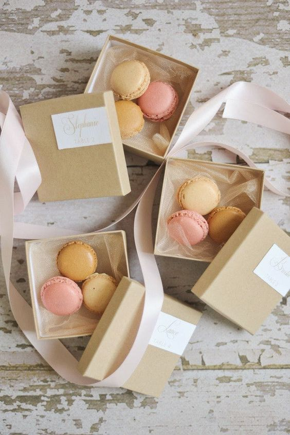 macaroons in simple box for baby shower dessert idea
