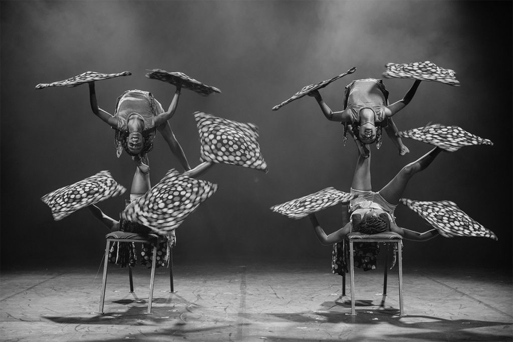 Circus Abyssinia Act in black and white for Christmas Wonderland Singapore