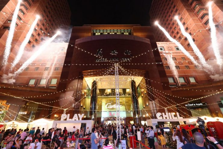 Great Christmas Village at Ngee Ann City Singapore filled with crowd and dazzling lights