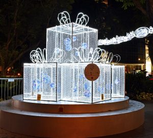 Christmas on a Great Street lighted gift boxes in Singapore