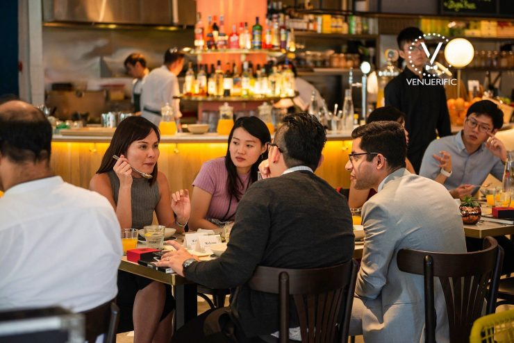 Mohit from Venuerific and the three guests discuss over a topic at the Venuerific Luncheon