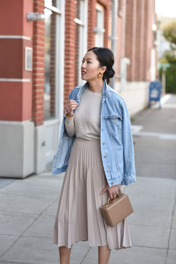 denim-jacket-with-dress-for-casual-style