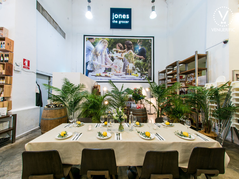 Close up of the dining setup at Jones the Grocer