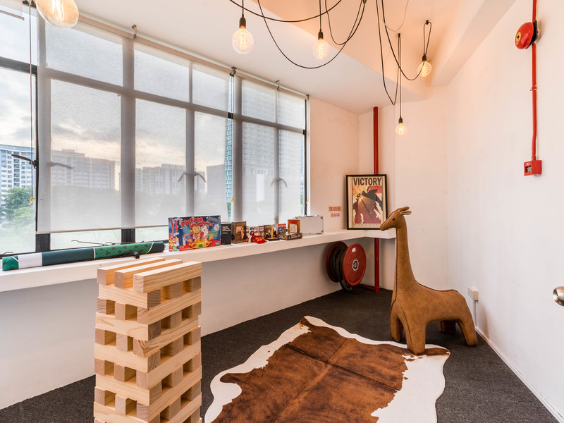 event space with giant jenga in Singapore