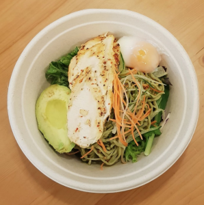 chicken breast with soba and avocado