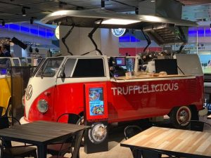 red food truck with truffle snack