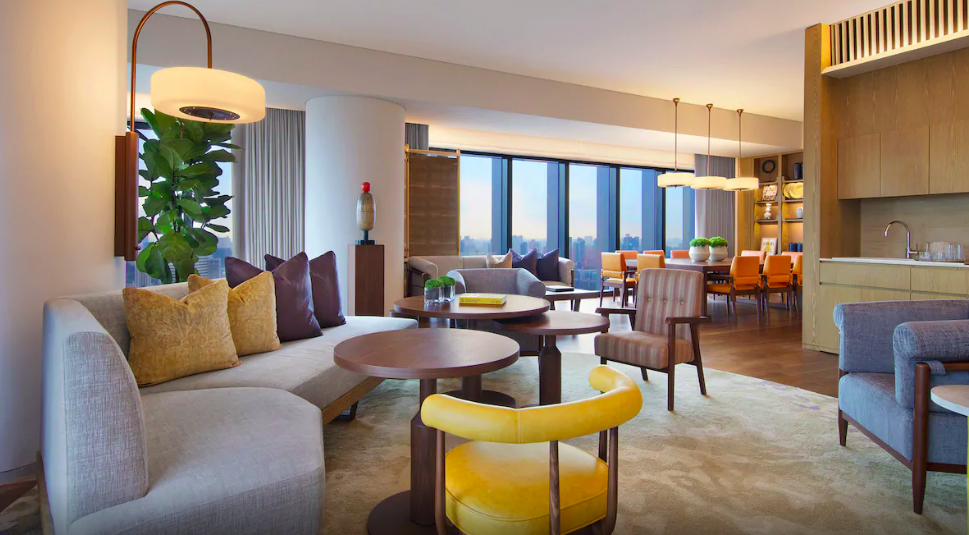 cozy living room and dining room for staycation andaz singapore