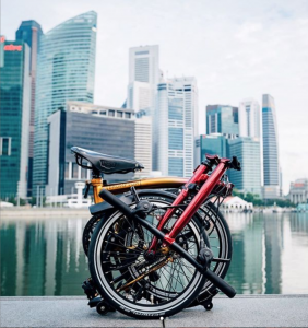 Bicycle being folded into half in Singapore