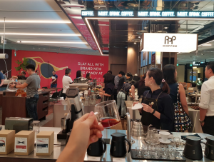 popular coffee shop with open area