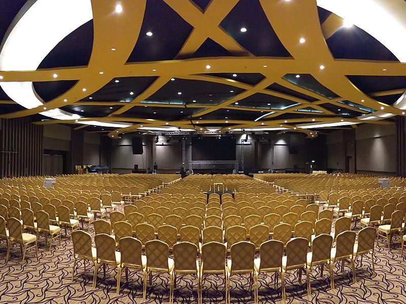 spacious modern ballroom with golden theme