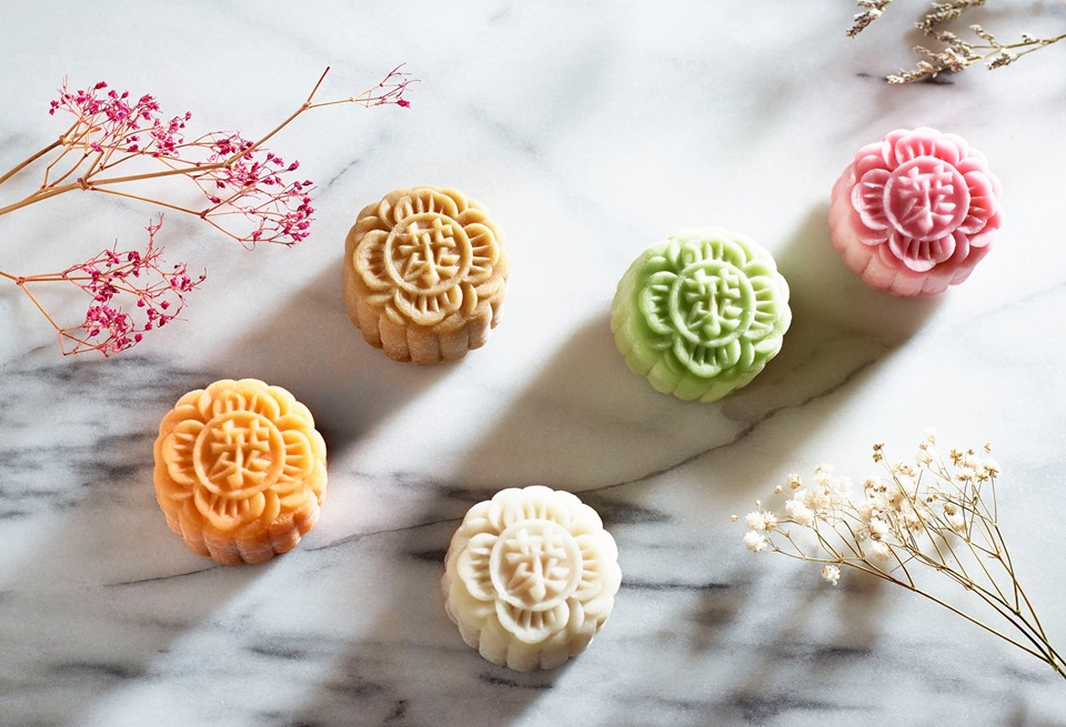 many selections of mini snowskin mooncake from raffles hotel