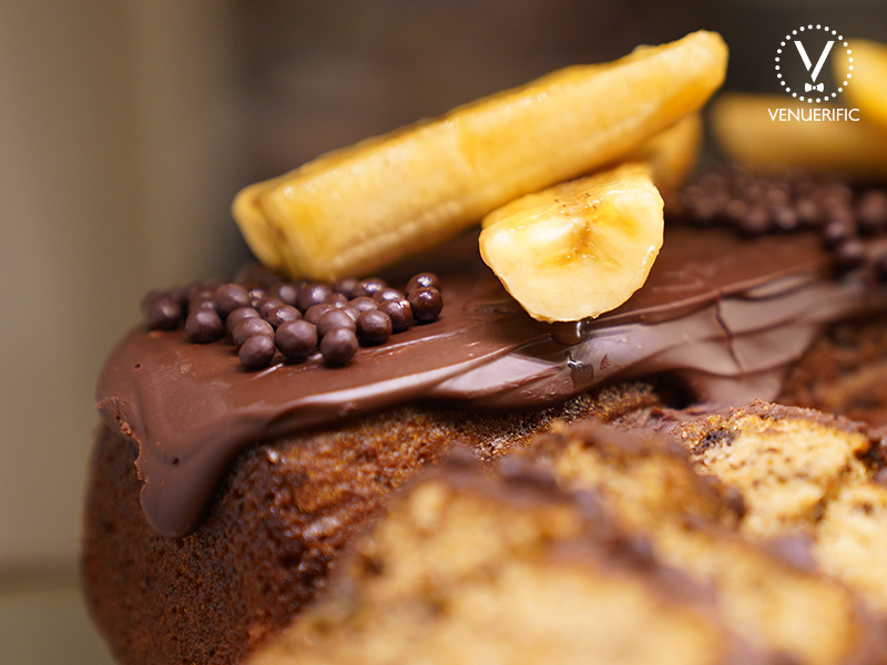 delicious chocolate cakes with banana on top