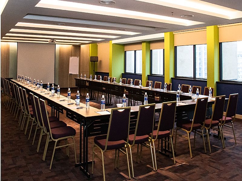 corporate meeting set in a nature themed room