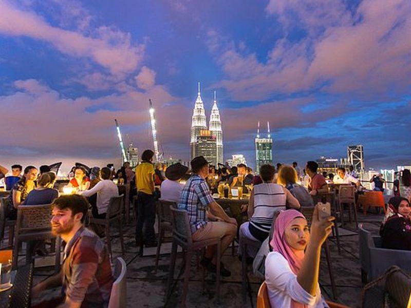 Bar with a view of Kuala Lumpur skyline