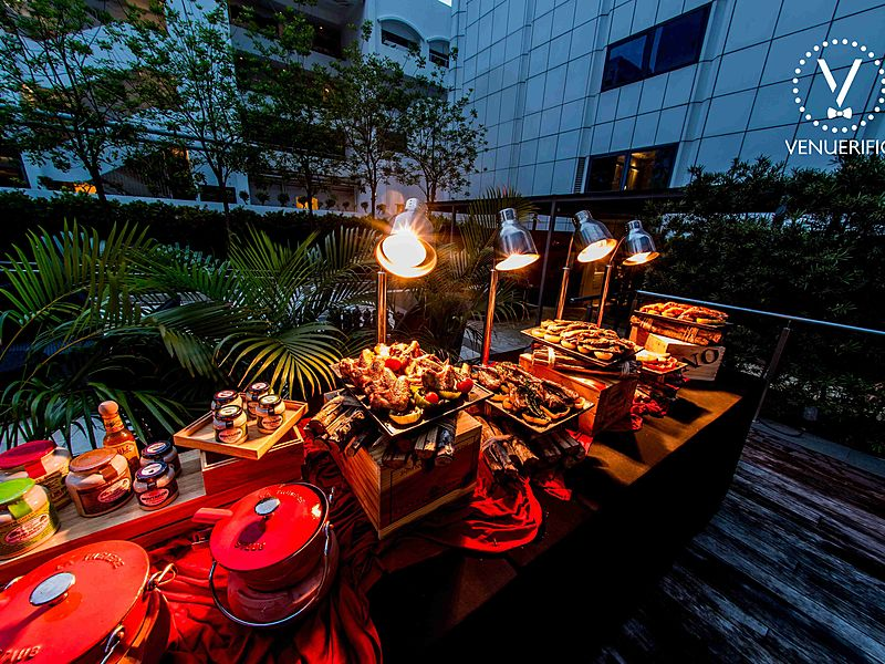 extravagant feast of barbecued dishes under the night sky