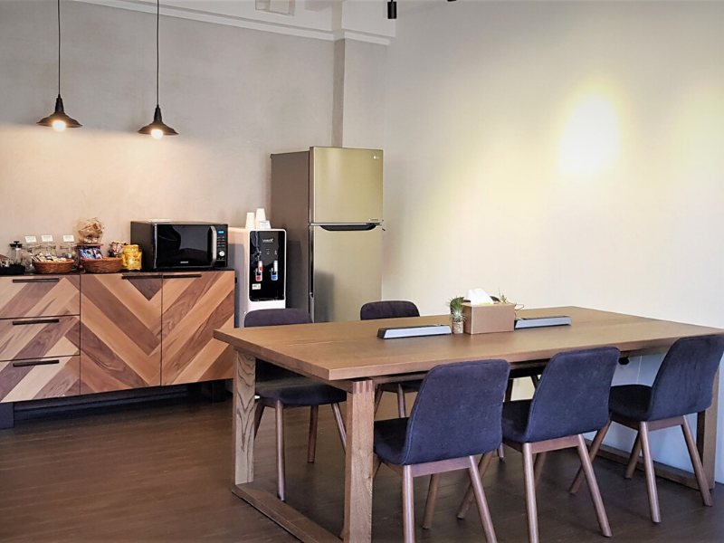 Pantry and nice coworking area at Mutual Works