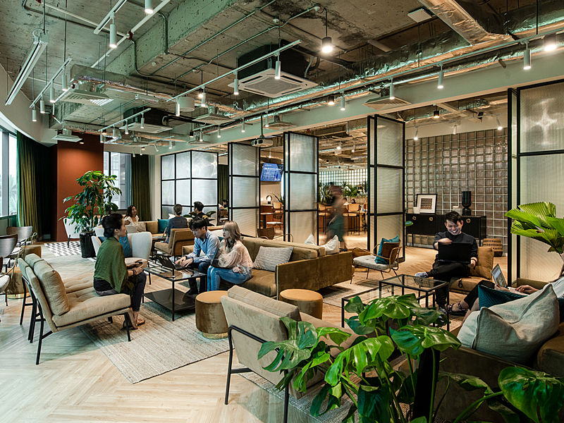 chic, trendy coworking area