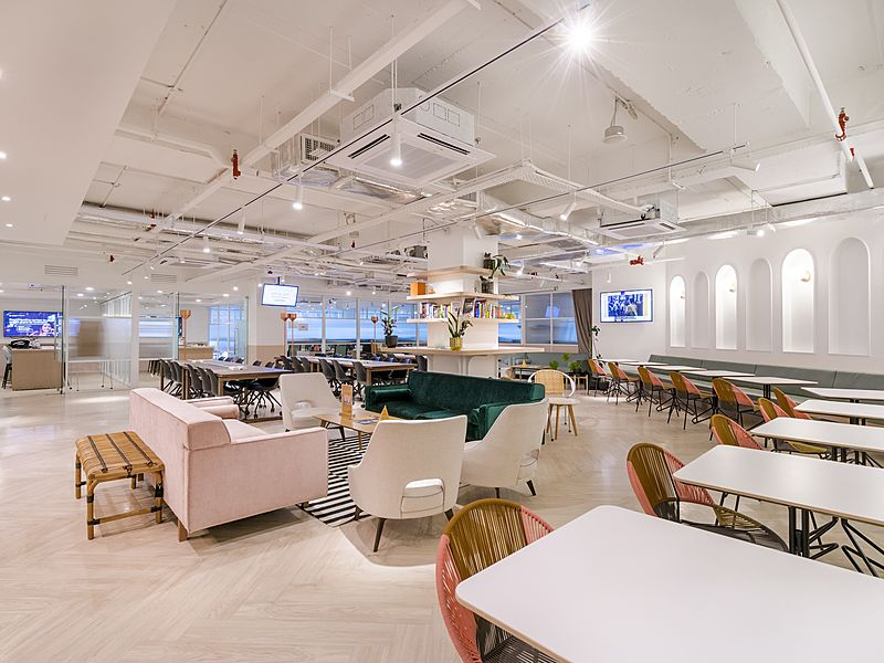 clean white coworking office